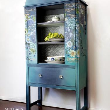 China Cabinet | Vintage China Cabinet Painted Blue with Flowers | Blue Curio Cabinet | Blue Hutch | Bookshelf | Pretty Storage Cabinet by AllThingsNewAgainVA