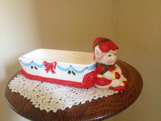 Vintage Holiday Elf Appetizer Tray Ceramic Cracker Tray from JSNY Taiwan by JoAnntiques