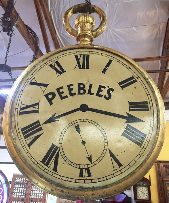 "Antique Americana Trade Jewelery Store Sign Watch Clock Advertising ""Peebles"""