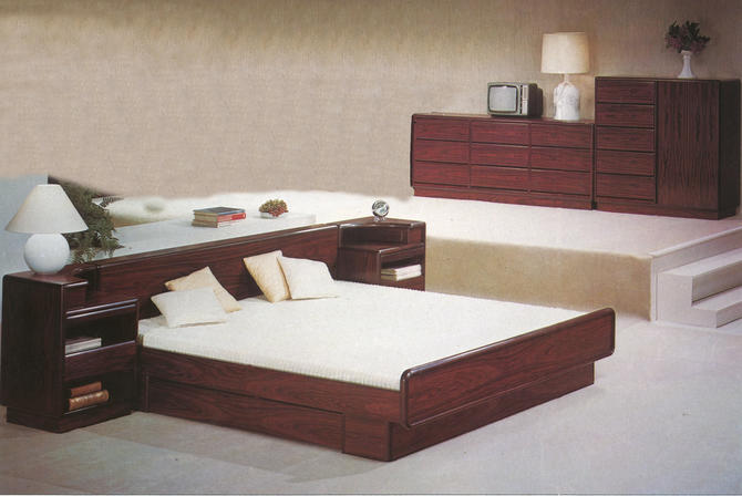 King Danish Modern Bedroom Set = Brazilian Rosewood Platform Bed + Nightstands + Dresser + Gentleman's Chest MCM by RetroSquad