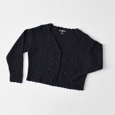 vintage bobble knit cropped cardigan sweater, size M / L by ImprovGoods