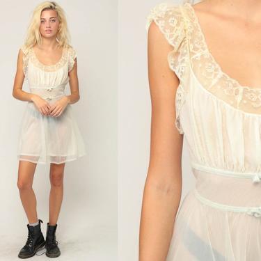 47780a3e784 Lingerie Slip Dress 70s Mini Boho White Sheer Nightgown FLUTTER ...