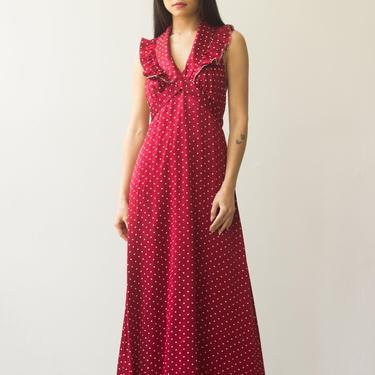 1970s Red Satin Polka Dot Halter Dress by waywardcollection