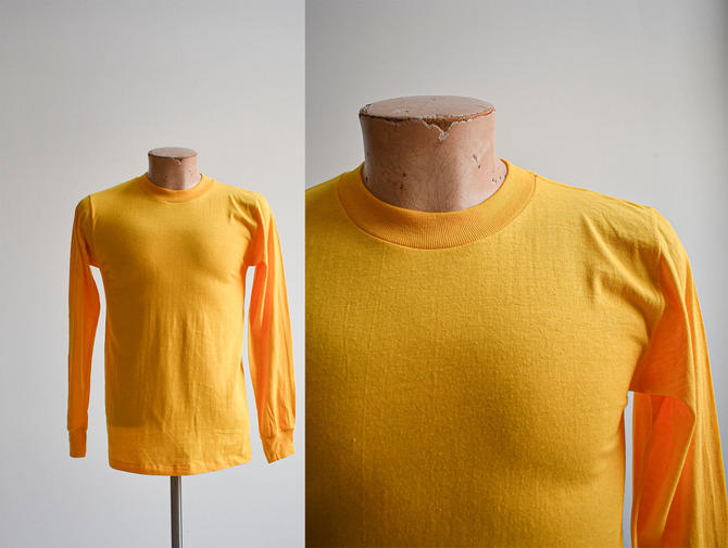 Vintage Longsleeve Yellow Blank Tshirt by milkandice