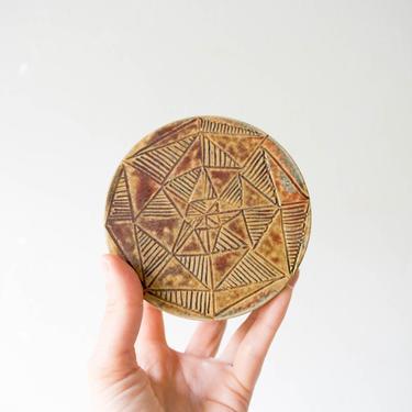 Mid Century Modern Tribal Studio Pottery Covered Bowl // Bohemian Home Decor by GlitteryMoonVintage