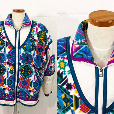 True Vintage East West Jacket Southwestern Print Fleece Zip Up Windbreaker 1980s 1990s Nylon Pink Blue Hipster Coat 90s Large XL Plus Volup by CheckEngineVintage