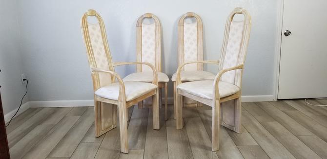 Italian Tall Back Carved Wood Sculptural Dining Chairs Set Of 4 . by MIAMIVINTAGEDECOR
