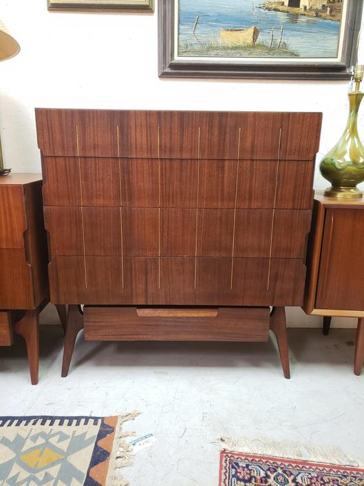 Mahogany Mid-Century Modern Tall Chest of Drawers with Brass Inset Detail