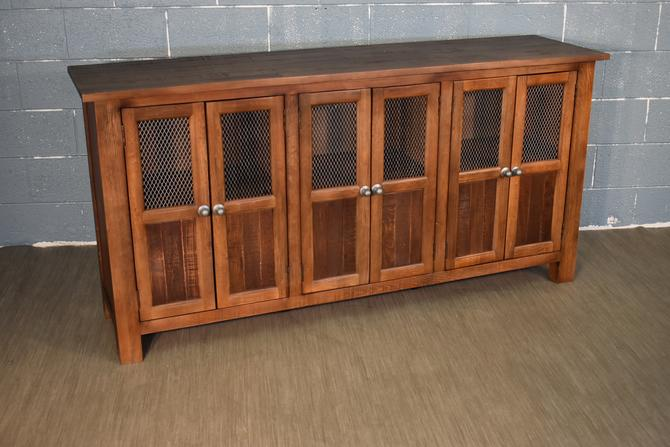 Rustic Farmhouse Style Solid Wood 6 Door Sideboard, Media Console by RusticShop1