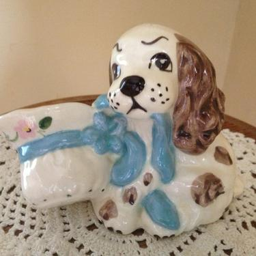 """Vintage Spaniel Dog Plater, Vase with Blue Ribbon and Hat- Signed Marian  4 1/4"""" by JoAnntiques"""