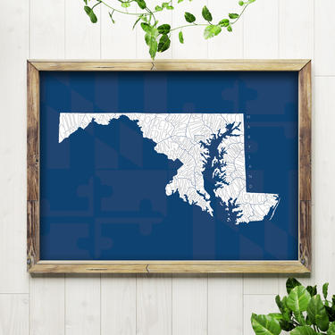Art Print // Maryland Counties Map, Blue // 5x7 + 8x10 Hand Lettered State Map by BillieClaireHandmade