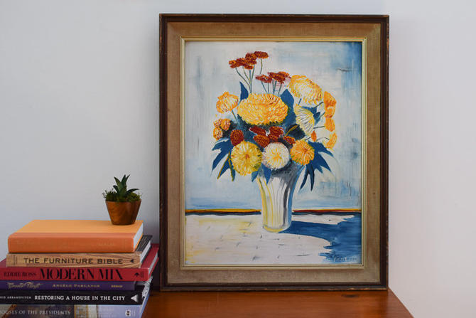 """Vintage Oil Painting titled """"Mums - A Primary Study"""" signed by Francis Pane Jr (1964) by CapitolVintageCharm"""