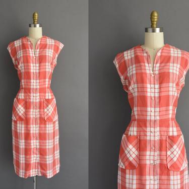 1950s vintage dress   Lynbrook Red Plaid Print Cotton Summer Shirt Dress   Medium   50s dress by simplicityisbliss