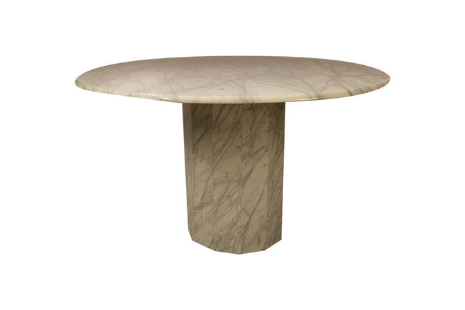 Mid Century Modern Round Italian Carrara Marble Dining Table by Marykaysfurniture