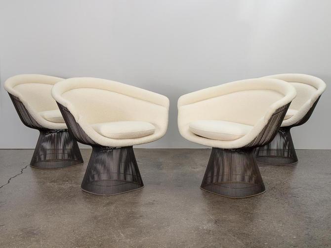 Warren Platner Bronze Lounge Chairs in Knoll Boucle by openairmodern