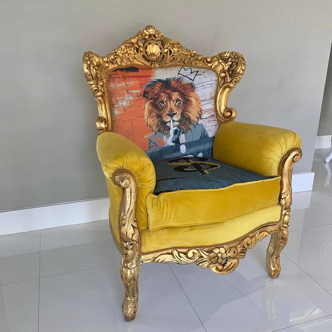 SOLD* Baroque Custom Chair #SkelArt *Signed by Artirst* Vintage Chair Gold Antique Furniture French Chair Lion Chair Interior Design by SittinPrettyByMyleen