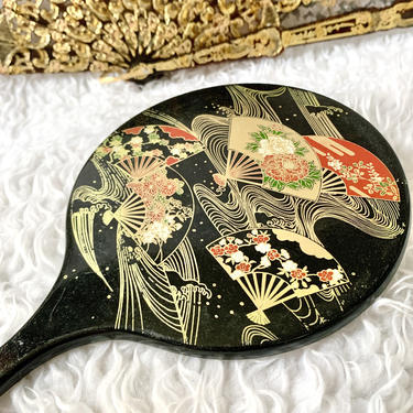 Vintage Hand Mirror, Asian Fan Design, Gold Metallic Trim, Asian Inspired by GabAboutVintage