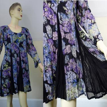 Vintage 90s Starina babydoll dress size medium, sheer black & floral lace with long sleeves and panel godet skirt 1990s hippie goth clothing by forestfathers