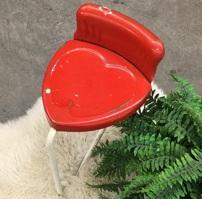 Vintage Heart Stool Retro 1960s Mid Century Modern + Metal Frame + Red and White + Tripod Base + Vanity Seating + Plant Stand + MCM Decor by RetrospectVintage215