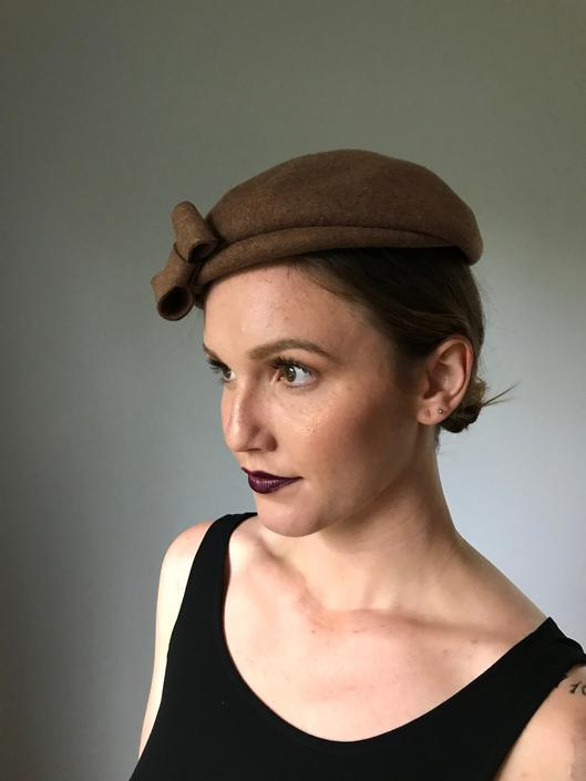 Vintage 40s Brown Wool Topper w/ Bow by SpeakVintageDC