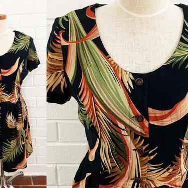 True Vintage Black Floral Romper Jumpsuit Skort Jump Suit USA 1990s 1980s Tropical Flowers Boho Earth Tones Short Sleeve Rayon Small Medium by CheckEngineVintage