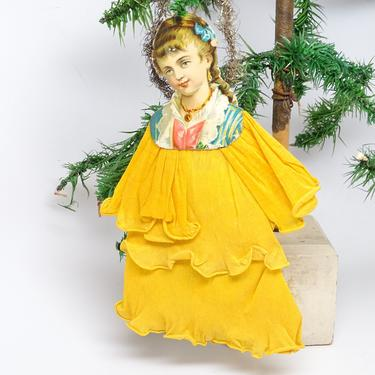 Early 1900's Large 8 1/2 Inch Victorian Die Cut and Tinsel Christmas Scrap Ornament with Paper Dress, Vintage Decor by exploremag