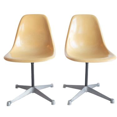 Vintage Eames shell chairs - Eames aluminum base ~ Eames swivel chairs ~ PSC base chairs ~ Charles & Ray Eames Herman Miller Gold chairs set by GoodWilson
