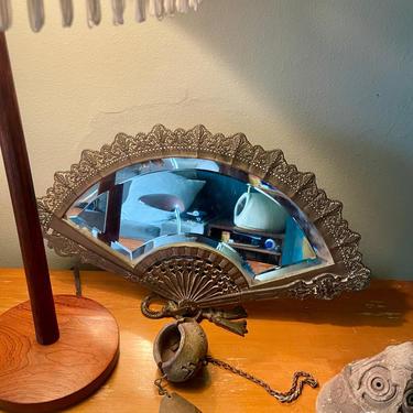 Antique Victorian Fan Mirror Vintage 20th Century Ornate Cast Brass Beveled Arts Crafts Era 1920s 1930s 1940s by BrainWashington