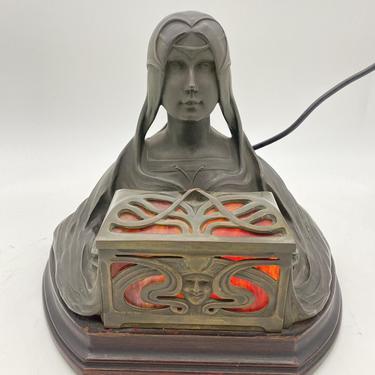 Art Nouveau Self Illuminating Female Bust Bronze Sculpture by Micael Levy by HarveysonBeverly