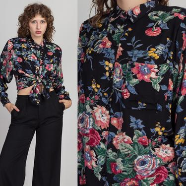 80s Button Up Floral Shirt - Medium | Vintage Black Pink Long Sleeve Collared Top by FlyingAppleVintage