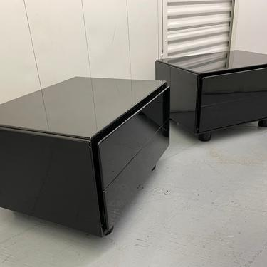 Mid Century Italian Black Lacquer Nightstands -- Circa 1970 by HollywoodHillsModern