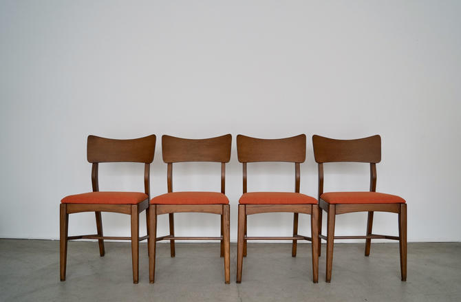 "Set of Four Mid-century Modern Dining Chairs Refinished & Reupholstered in Maharam's "" Mode "" by CyclicFurniture"