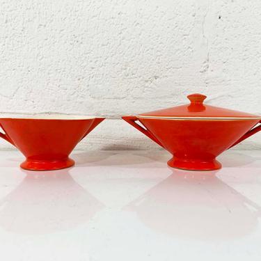 True Vintage Salem Tricorne China Cream Sugar Bowl Set Creamer Atomic Art Deco Streamline Mandarin Orange Red Mid-Century Triangular Jetsons by CheckEngineVintage