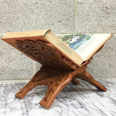 Vintage Book Stand Retro 1970s Carved Brown Wood + Folding Rack + Cook Book Display + Bohemian Style + Home Library and Kitchen Decor by RetrospectVintage215