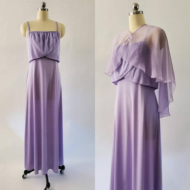 1970s Evening Gown w/ Sheer Capelet by JC Penney 70's Maxi Dress 70s Evening Wear Women's Vintage Size Small by HeySailorNiceVintage
