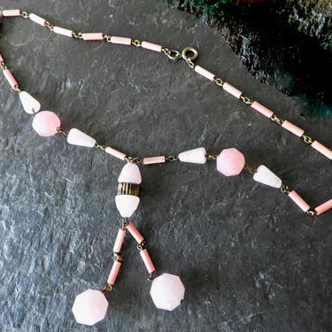 Art Deco Pink Czech Pressed Glass Necklace by LegendaryBeast