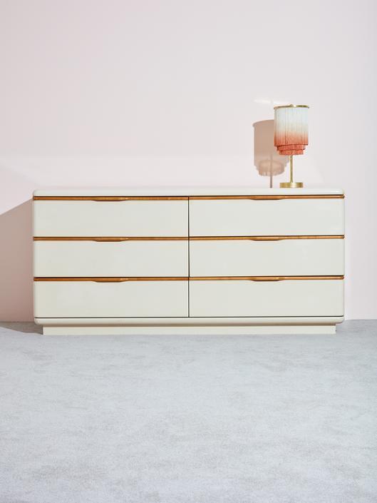 Beige and Wooden Dresser by Lane