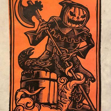 Pumpkin Executioner Block Print by WoodcutEmporium