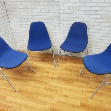 Vintage Eames Molded Fiberglass Shell Chairs with Alexander Girard Blue Upholstery for Herman Miller - Set of 4