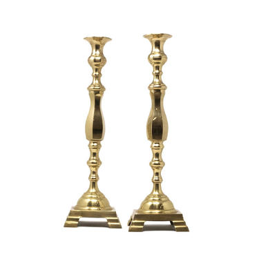 Pair of Tall Brass Taper Candlestick Holders, Tall Candleholders by GreenSpruceDesigns