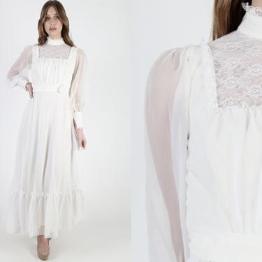 Vintage 70s Ivory Chiffon Wedding Maxi Dress 1970s Off White Formal Bridal Ceremony Victorian Solid Lace Long Waist Sash Womens Dress by americanarchive