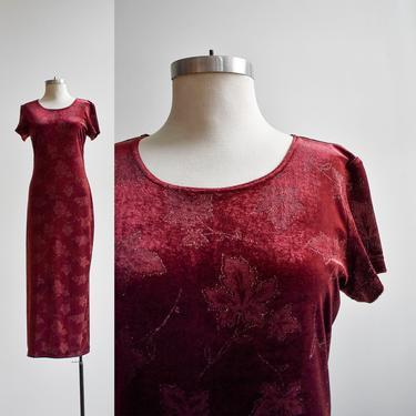 1990s Maroon Velour Leaf Maxi Dress by milkandice