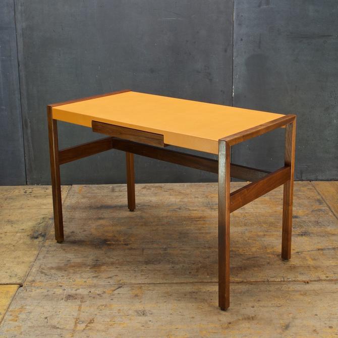 Walnut Orange Leather clad Writing Desk Atomic Ranch Vintage Mid-Century Modern Cabinmodern Rustic by BrainWashington