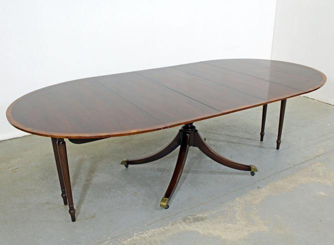 Baker Federal Style Banded Mahogany Expansion Dining Table by AnnexMarketplace