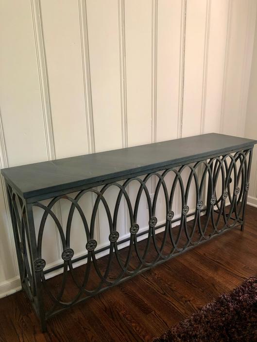 LONG WROUGHT IRON CONSOLE WITH STONE TOP