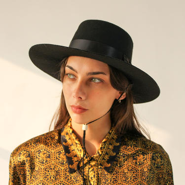 Vintage Eddy Bros. Black Gambler Bolero Western Wide Brim Hat | 100% Wool Felt | Designer, Boho, Flamenco, Prairie, Western Wide Brim Fedora by TheVault1969