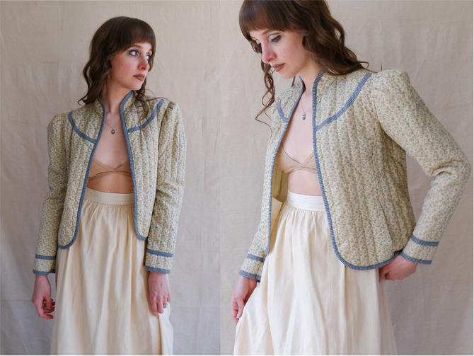 Vintage 70s Gunne Sax Quilted Prairie Jacket/ 1970s Long Sleeve Quilt Coat/ Puff Sleeve Prairie Cardigan/ Size Small by bottleofbread