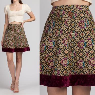 60s Tapestry Mini Skirt - Extra Small | Vintage High Waist A Line Velvet Trim Miniskirt by FlyingAppleVintage