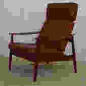 Danish Modern Teak Lounge Chair w / 'Blood Orange' Leather Cushion