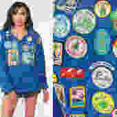 80s Girl Scouts Patch Jacket -- Blue Snap Up Jacket 80s Jacket Vintage Retro 1980s Girl Guides Medium by ShopExile